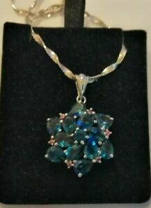 Large Sterling Silver blue and pink topaz pendant & chain