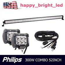 "52"" 300W Philips LED Light Bar Combo Off-road+2X 18W 4inch Lights+Wiring Harness"