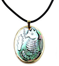 Carved abalone shell sea horse pendant  PDT330008