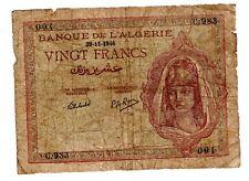 Algeria Algerie Billet 20 FRANCS 29/11/ 1944  P92