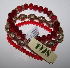 1928 Brand 3 PC Stackable Bracelet Set NWT Ruby Red & Gold Tone Metal Beads