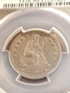 1853 Seated Liberty Silver Quarter. PCGS AU50      INV05    G527