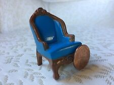 Mattel 1980's Metal Wing Chair Seat Blue Doll House Miniature Furniture Room
