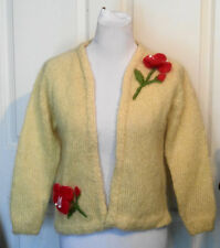 Vintage Yellow Mohair Clutch Sweater Pink Hibiscus Flower B36