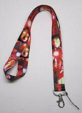 Red IRONMAN Iron Man LANYARD KEY CHAIN Ring Keychain ID Holder NEW
