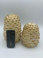"""Martha Stewart Set of (2) 5"""" & 6"""" Figural Pinecone Candle + Remote - WHITE GOLD"""