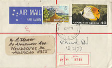 Stamp Papua New Guinea 1977 cover sent registered BUKA RELIEF No 9 postmark