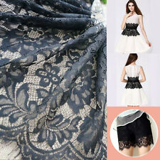 3.3yd Black Embroidered French Guipure Lace Gauze Fabric Wedding Clothing Craft