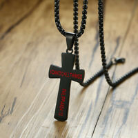 Mens Womens Stainless Steel Chain Necklace Cross Pendant Silver Gold BK
