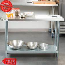 """Kitchen Restaurant Food Work Prep Shelf Table Stainless Steel 18 Gauge 18"""" x 48"""""""