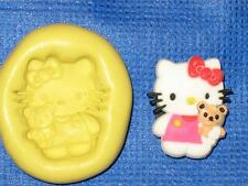 Hello Kitty and Bear Push Mold Food Safe Silicone #768 Cake Chocolate Resin Clay