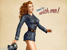 """pin up girl vintage  fashion model  come fly with me print poster  36"""" x 24"""""""