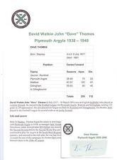 DAVE THOMAS PLYMOUTH ARGYLE 1938-1948 RARE ORIGINAL HAND SIGNED CUTTING