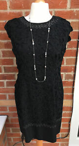 Ladies Unbranded Size 14-16 Black Pattern Dress Evening Wedding Party S9