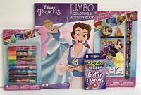 4 Disney Princess Jumbo Coloring Activity Book Pencil Set Glitter Crayon Markers