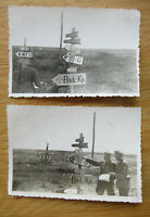 2 alte Fotos WH Wegweiser / Schilderwald 2. WK