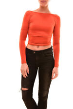Free People Women's Super Fit Long Sleeved Top Size Orange XS/S RRP £40 BCF81