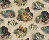 Woodland Animal Family Scenes  Elizabeth's Studio 100% cotton Fabric by the yard