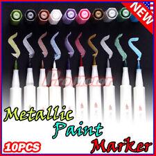 10 Colors Assorted Metallic Paint Markers Pens Sheen Glitter Calligraphy Art USA