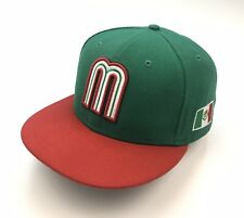 NEW ERA MEXICO FLAG FITTED HAT CAP 7 3/4 WORLD BASEBALL CLASSIC 59FIFTY GREEN