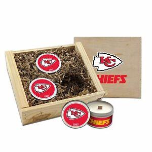 Kansas City CHIEFS NFL 3pc Candle Wood Box Set WoodWickSoyWaxHandPouredTravelTin