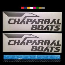 """2 (TWO) Vintage CHAPARRAL BOATS Marine HQ Decals 12"""" - Silver Metallic + more"""