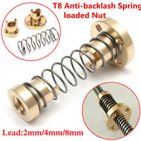 T8 Anti-backlash Spring Loaded Nut For 2mm/4mm/8mm Trapezoidal Rod Lead