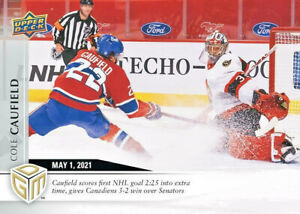 2020-21 Upper Deck Cole Caufield Game Dated Moments /499 Montreal Rookie PRESALE