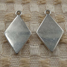 50 pieces tibetan silver playing cards diamond shape charms 24x14mm #4367