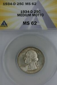 1934-D .25 ANACS MS62 MEDIUM MOTTO Washington Quarter, Silver 25 Cents (0.25)