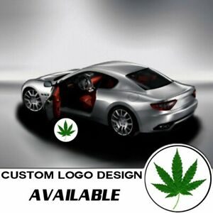 2x Logo Green Leaf Laser Projector Car Door Step Led Welcome Ghost Shadow Light
