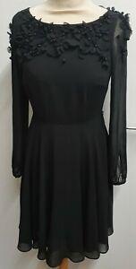 Beautiful Coast Black Dress With Flower Bead Embellishments Size 6