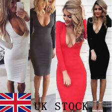 UK Sexy Women Cocktail Dress Long Sleeve Bodycon Low-cut Vest Party Pencil Dress