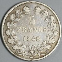 1848-BB France 5 Francs Louis Philippe Silver Strasbourg Crown Coin (19122903R)