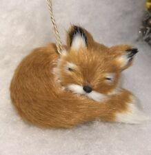Sleeping Red fox christmas tree ornament Faux Fur Woodland