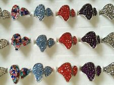 3pcs silver Plated Retro color Rhinestone Angel Wings Feather Women Vintage Ring