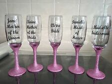 Set of 5 Personalised Wedding Glitter Champagne Flutes - Any Colour/Any Wording