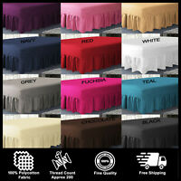 Plain PolyCotton Extra Deep Fitted Frilled Valance Sheets In All Sizes Colours