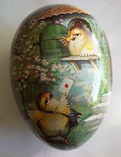 Colorful GERMANY Antique Paper Mache Easter Egg - CHICKS Enchanging Letter