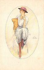 6491) ALEARDO TERZI DONNA CON CAPPELLO SERIE 187-5 VIAGGIATA IL 18/7/1917.