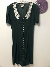 Ladies sheer shirt dress size 12 green lace collar laces in back City Lights 160