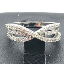 Elegant Sterling Silver 925 CZ Pave X Crossover Triple Split Bail Cocktail Ring