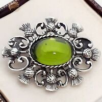 Vintage - 1970s Olive Green Glass Pewter Celtic Scottish Thistle Brooch Pin
