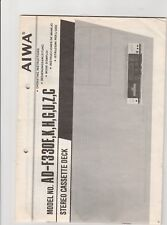 Aiwa AD-F330 Cassette Deck Instruction Sheet