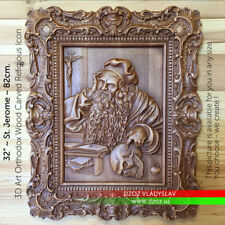 "32""/82cm Wood Carved DZOZ ART 3D St Jerome icon picture bible Hieronymus"