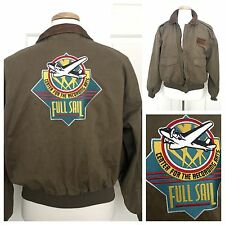 Vintage 80s AVIREX Flight Bomber Jacket M Mens Green Khaki Cotton Leather