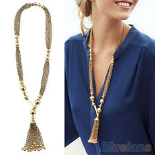DR7 Women Vintage Y-Shape Golden Color Bead Twisted Tassel Metal Long Chain Neck