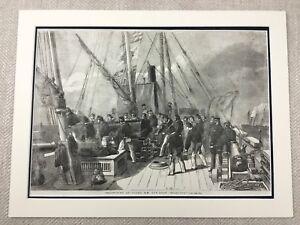 1855 Print HMS Starling Royal Navy Gun Boat Naval History Genuine Antique