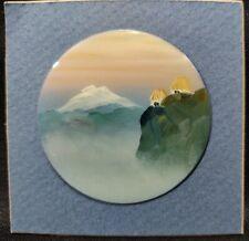 "Ecuador D'Arte SIGNED Miniature 2.75"" Folk ART Indian Painting Metal Wall Plaque"