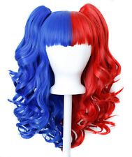 20'' Lolita Wig + 2 Pig Tails Set Half Scarlet Red Royal Blue Split Gothic Sweet